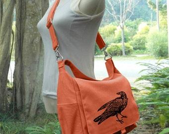 Orange canvas shoulder bag messenger bag men crossbody bag satchel travel bag hobo bag market tote bag laptop purse diaper bag, girls gift