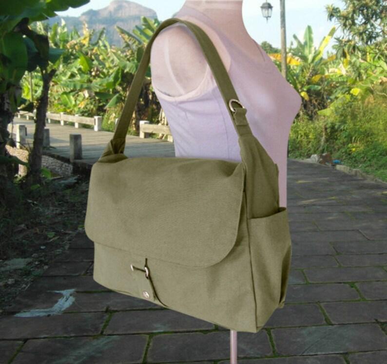 Olive canvas messenger shoulder bag mens custom canvas bag image 0