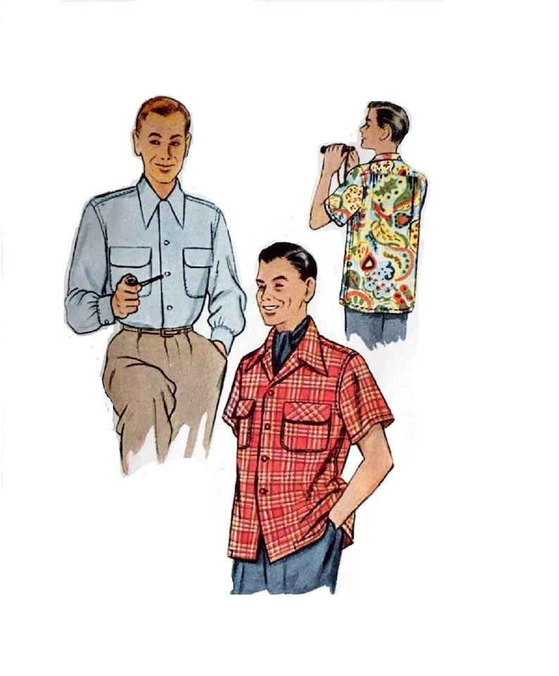 "1950/'s Vintage Sewing Pattern Men/'s Swim Shorts /& Shirt Large  Chest 42-44/"""