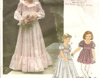 Girls Long Dress Pattern Flower Girl Dress Pattern size 5 Vogue 1814 Vintage Sewing Pattern