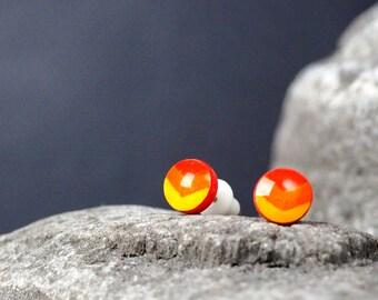 Little Illustrated orange Chevron ear studs