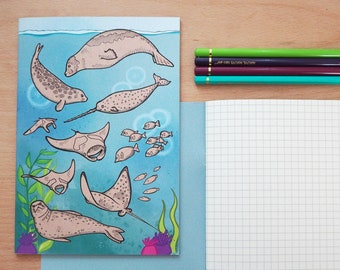 A5 recycled Sea creatures notebook - squared paper
