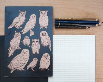 A5 recycled Owls notebook - squared paper