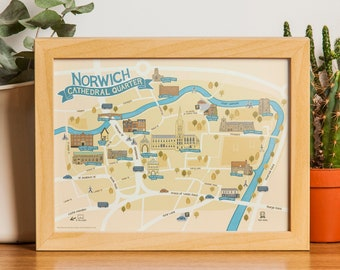 Norwich Cathedral Quarter Illustrated Map - A3 Print
