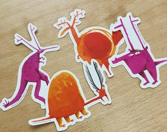 Set of 4x character stickers