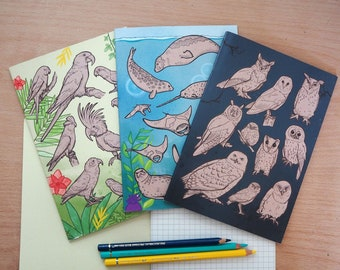 Set of three A5 recycled notebooks - squared paper
