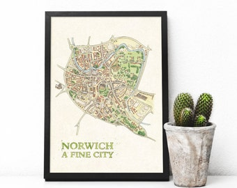 Norwich Watercolour Illustrated Map - A3 digital Print