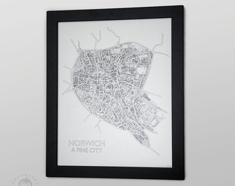 Norwich City map Illustration 2015 edition - Hand-pulled screenprint