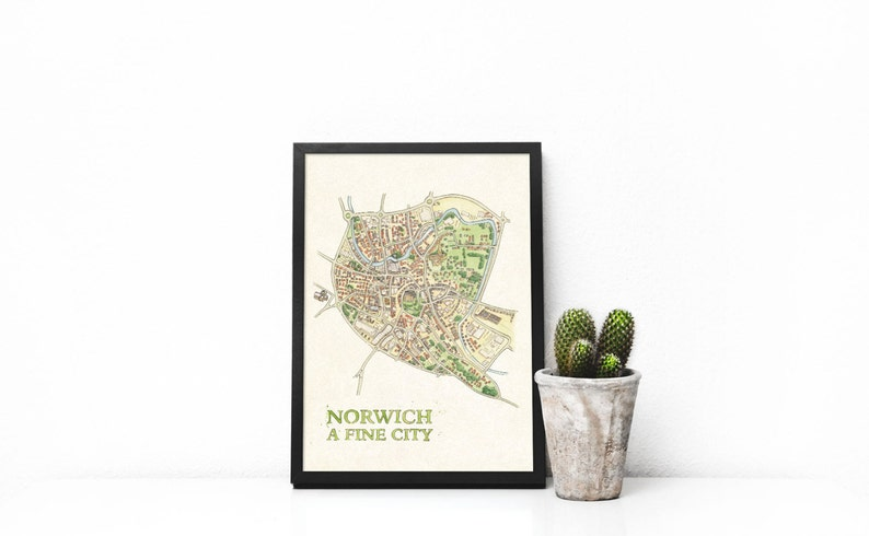 Norwich Watercolour Illustrated Map  A3 digital Print image 0