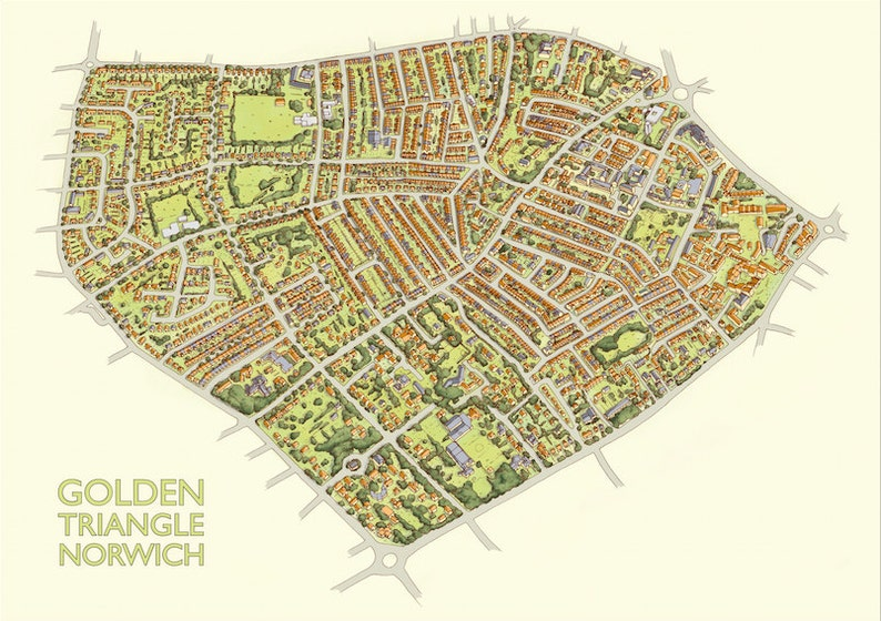 Golden Triangle Illustrated Map  A3 Print image 0