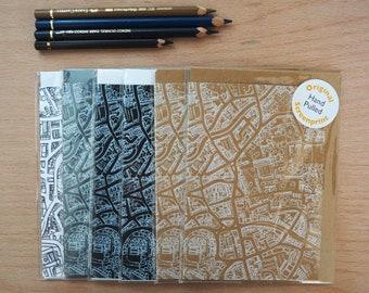 Screenprinted Norwich map Notecard set