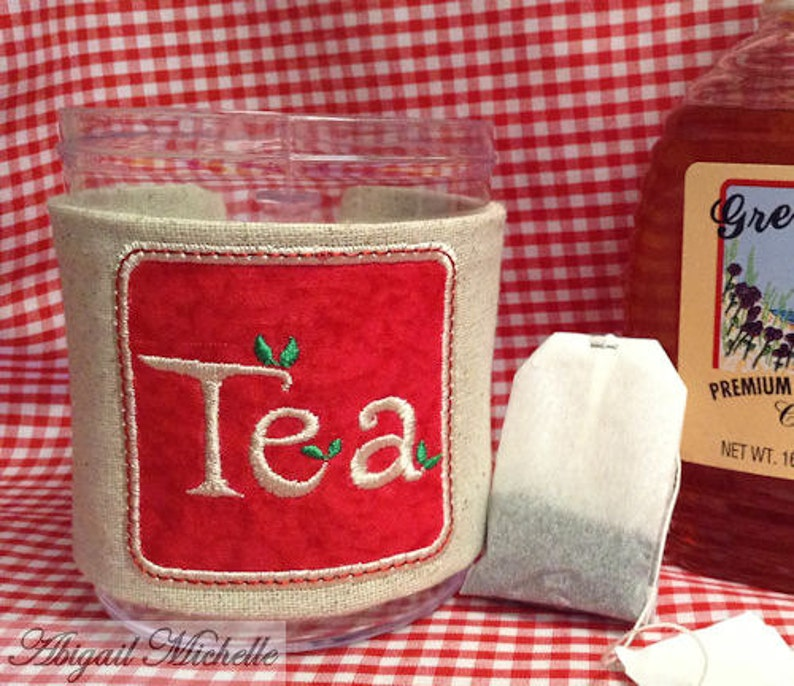 Tea Cup Cozy In The Hoop  Machine Embroidery Pattern image 0