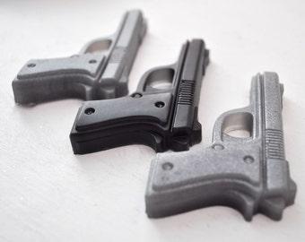 Gun Soap - gifts for him - dad gift - black soap - Pistol Soap - vegan soap - military man - dad soap