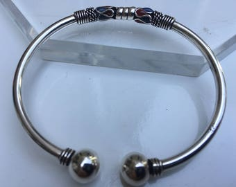 Sterling silver bangle braceletwire wrapped with enameling    VJSE