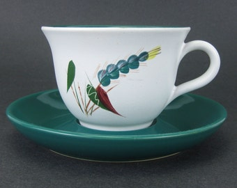 """Vintage Denby Teacup and Saucer in """"Greenwheat"""" Pattern by Albert Colledge, Mid Century"""