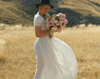 Linen maxi dress rustic, country and boho wedding dress