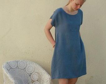 Simple linen dress in various colors, knee length dress, airy summer dress made after your measures