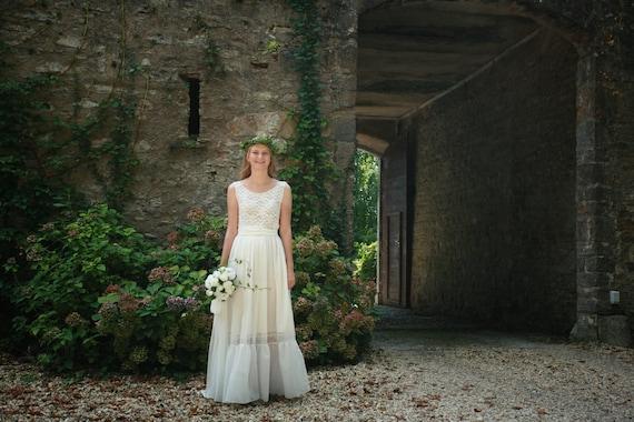Ivory cotton lace viscose bridal gown boho wedding dress   Etsy