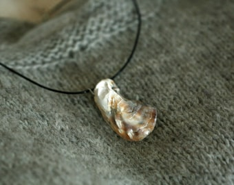 One of a kind real seashell fossil necklace, shiny bronze seashell