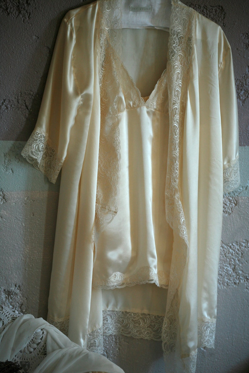 Valentine/'s day everyday luxury Cream silk nightgown with dainty lace trim wedding sleepwear,
