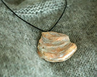 One of a kind real shell fossil pendant necklace