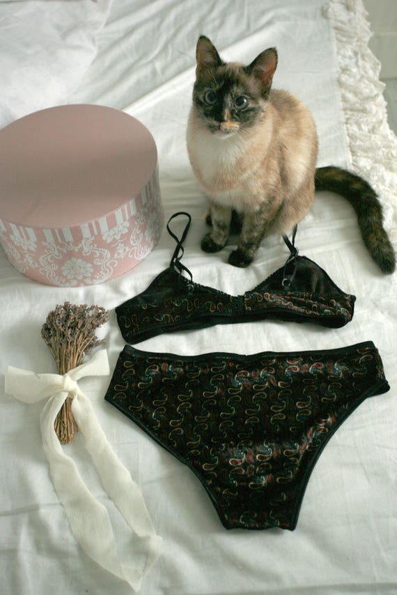 18a16579f1 Lotus argent Velvetvelour and lace lingerie setadjustable