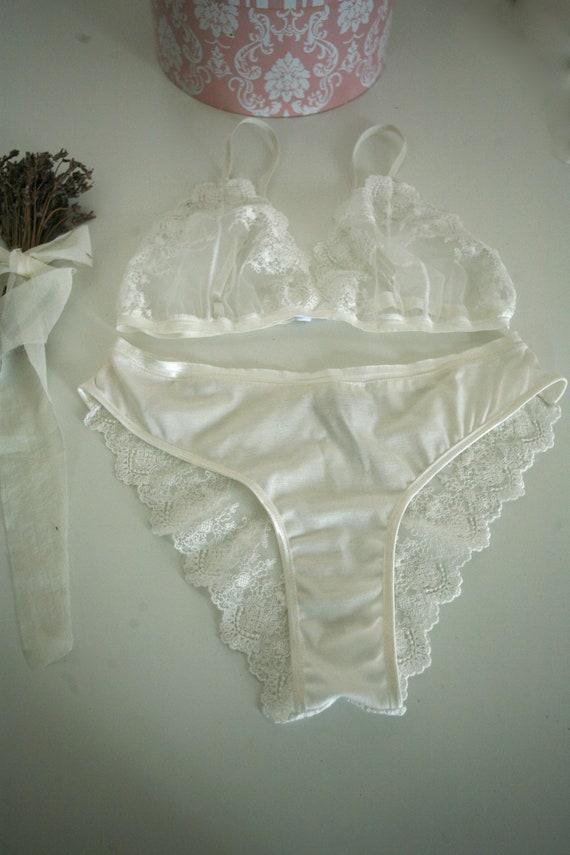 bb50459b65216 Genêt blanche White tulle lace lingerie setadjustable bra