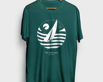 d57db7ce Mediterranean, Tel Aviv Sailboat T-Shirt   Teal Green Unisex T-Shirt    Men's T-Shirt   Women's T-Shirt   Nautical T-Shirt   Beach T-shirt