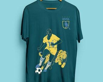 a3d587c7c Pelé, Brazil   Teal Green Unisex T-Shirt   Men's T-Shirt   Women's T-Shirt    Football T-Shirt   Soccer T-Shirt   Jaguar T-Shirt