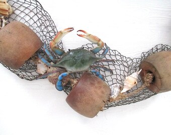 Vintage Buoy/Crab/Shell/Netting Garland, 72""