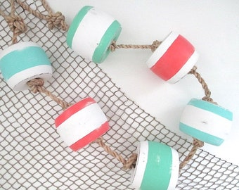Vintage Buoys on Rope, Hand Painted, Turquoise/Coral/Sea Green on White