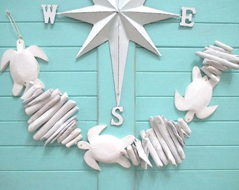 Sea Turtle/Driftwood White Washed Garland