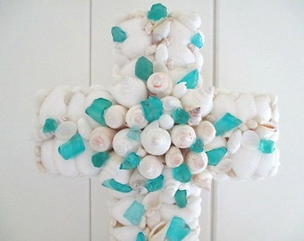 Large Shell/Beach Glass Cross, White, Turquoise/Aqua, Standing