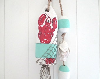 Buoy/Oyster Garland, Hand Painted Lobster, Wood, Fish Net, Turquoise/Red
