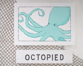 "Nautical, ""OCTOPIED, UNOCTOPIED,"" Flip Sign, Hand Painted, Turquoise/White, Bathroom/Outdoor Shower"