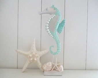 Shell/Capiz Shell, Hand Painted Metal Seahorse on Stand