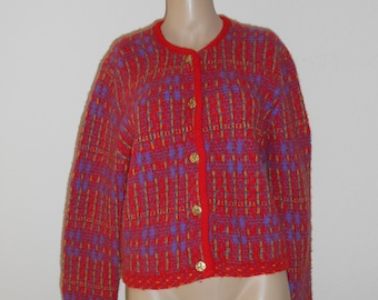 51136a2859c Vintage United Colors of Benetton Cardigan S Multi Color Fair Isle Button  Front Shetland Wool Long Sleeves