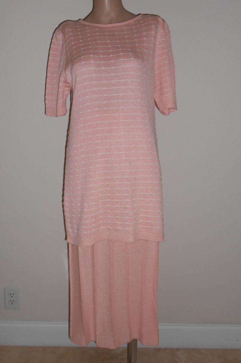 c850945ae32 Vintage Ami Neiman Marcus Knit Skirt Set 8 Pink White Pattern | Etsy