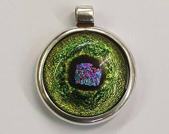 Handmade 925 silver surround dichroic glass pendant.