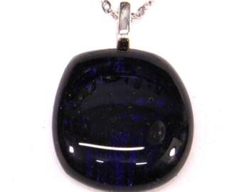 Dark blue (very dark) dichroic Fashion pendant.