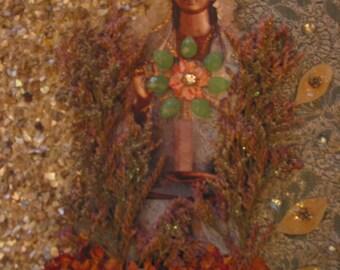 Kwan Yin Altar Art - Mixed Media Collage -OOAK  framed original artwork