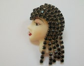 Vintage hand painted porcelain lady 39 s head brooch, ladies head with black rhinestones, 1920 39 s flapper style