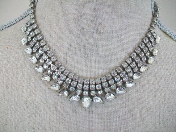 Vintage Necklace Glass Bead Aurora bibbed   Multi Strand Necklace  Glass Beads Costume Jewellery  Wedding Jewellery