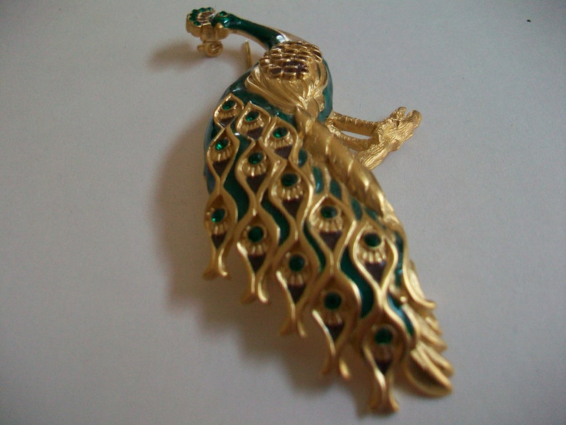 colorful signed designer Vintage Bob Mackie peacock brooch bird jewelry