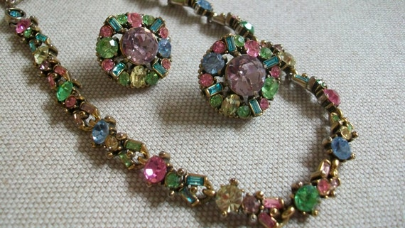 860f4ae28a4d3 Signed Hollycraft pastel rhinestone necklace & screw back earrings, multi  color, 1950s , collectible, demi parure, retro, mid century