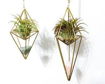 Raw Crystal Air Plant Mobiles. Hanging plants. Modern Boho Decor. Crystal mobiles. Housewarming gift. Crystal Decor. Hanging Crystals.