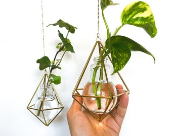 Geometric Himmeli Vase Mobile. Vase Ornament Decoration Hanging Plant. Decorative Propagation Vessel.  Geometric Diamond Brass Himmeli