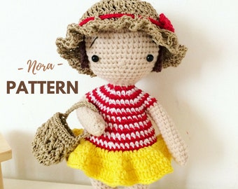 Nora | Amigurumi Doll Pattern, One Piece Crochet Doll, Crochet Doll Pattern, Amigurumi Pattern, PDF, Crochet pattern