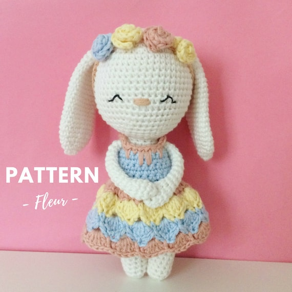Fleur Crochet Bunny Pattern Crochet Pattern Crochet Bunny Amigurumi Pattern Amigurumi Bunny Amigurumi Bunny Pattern