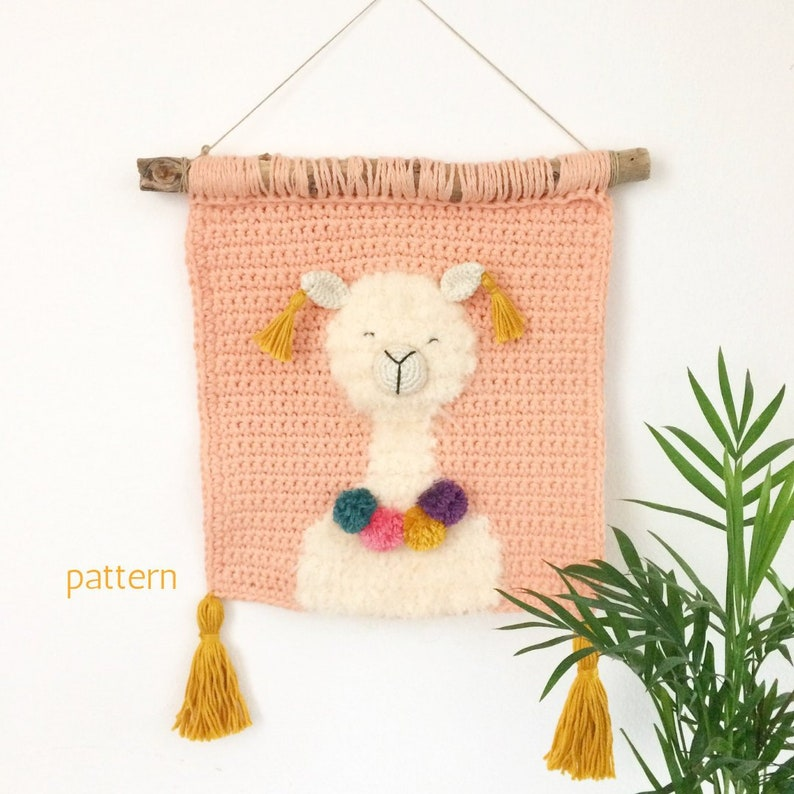 Crochet Alpaca Wall Hanging  Wall Hanging Decor Tapestry image 0